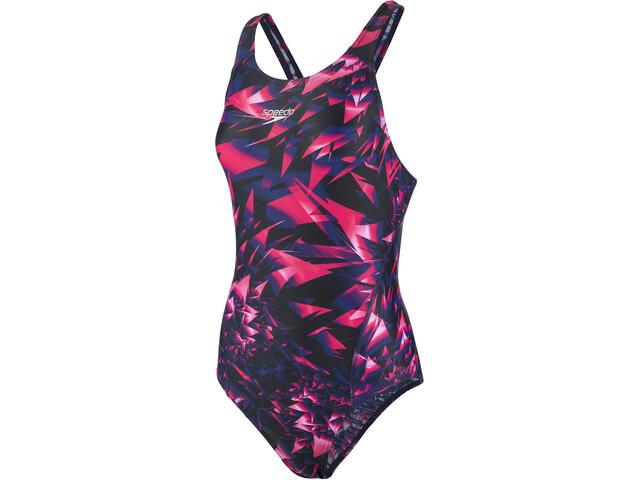 speedo SparkelGlow Allover Recordbreaker Traje de Baño Mujer, black/pink